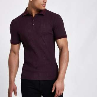 River Island Mens Dark red chunky rib muscle fit polo shirt
