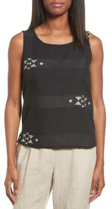Women's Eileen Fisher Jacquard Stripe Cotton Shell $118 thestylecure.com