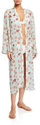 Verandah Floral Print Hand-Beaded Kimono Coverup