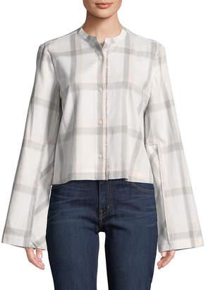 Derek Lam 10 Crosby Collarless Plaid Cropped Shirt