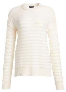 Theory Cashmere Novelty Stripe Crewneck