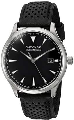 Movado Men's Swiss Quartz Stainless Steel and Leather Casual Watch