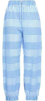 Ganni Charron Gingham Cotton-blend Seersucker Tapered Pants