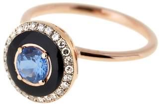 Selim Mouzannar Round Tanzanite, Black Enamel And Diamond Pavé Ring