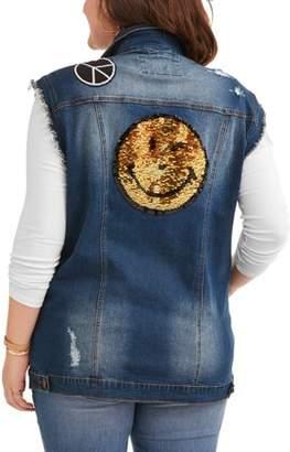 Dh by Dollhouse Juniors' Plus Size Reverse Sequin Denim Vest