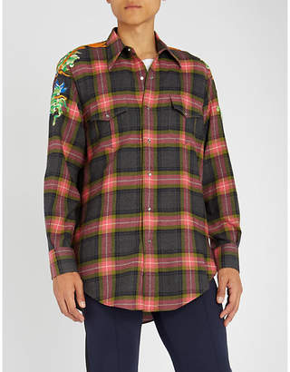 Gucci Dragon-embroidered checked regular-fit wool shirt