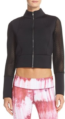 Women's Alo Perforated Scuba Crop Jacket $148 thestylecure.com
