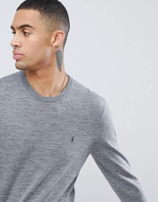 AllSaints 100% Merino Crew Neck Sweater In Gray With Ramskull Logo