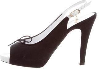 Chanel Canvas Peep-Toe Slingback Pumps
