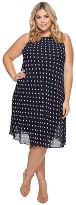Lauren Ralph Lauren Plus Size Geminah Classic Dot Georgette Dress Women's Dress