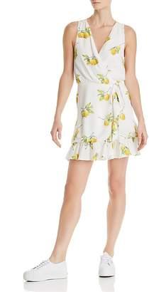 Rails Madison Lemon Print Silk Wrap Dress