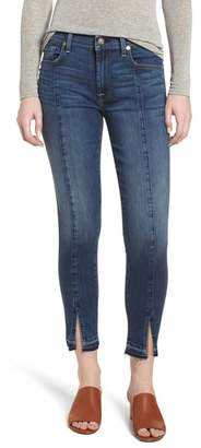 7 For All Mankind Front Seam Slit Released Hem Ankle Skinny Jeans