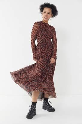 Urban Outfitters Tiger Print Mesh Maxi Dress