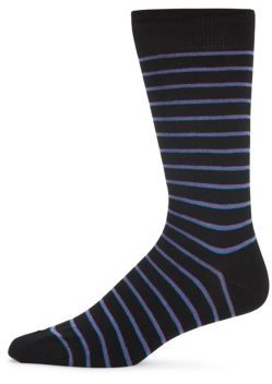 Pinstriped Combed Cotton-Blend Socks $20 thestylecure.com