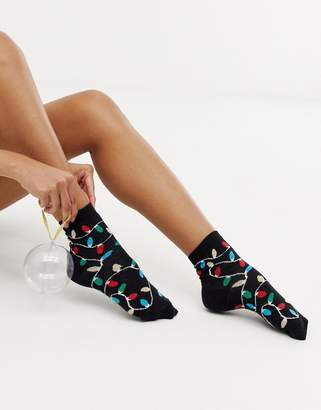 Asos Design DESIGN Holidays lights ankle sock in bauble