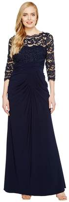 Adrianna Papell Lace and Draped Jersey Gown Women's Dress