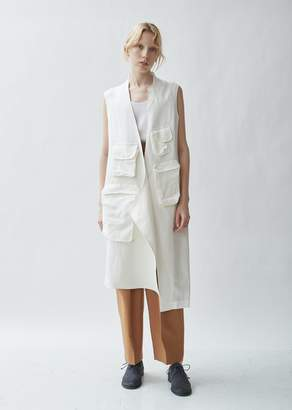 Y's Linen Blend Stand Collar Sleeveless Jacket