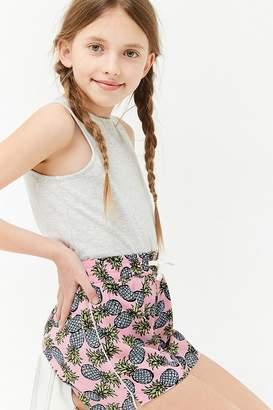 Forever 21 Girls Pineapple Print Drawstring Shorts (Kids)