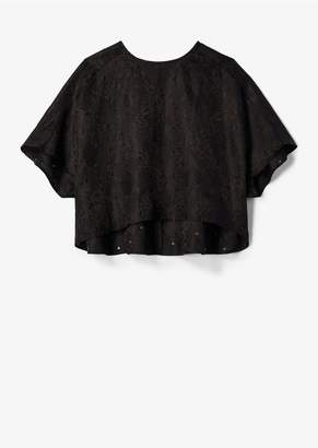 Derek Lam Short Sleeve Floral Gazar Eyelet Embroidered Top