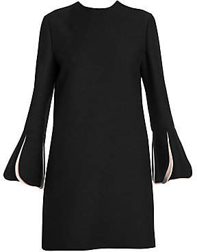 Valentino Women's Wool & Silk Contrast Scallop Long Sleeve Shift Dress