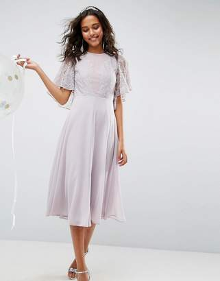 Asos DESIGN delicate lace applique midi dress