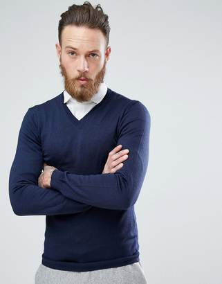 Asos Merino V-Neck Sweater In Navy