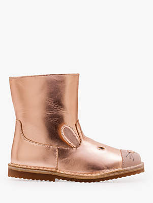 Boden Mini Children's Leather Character Boots, Rose Gold