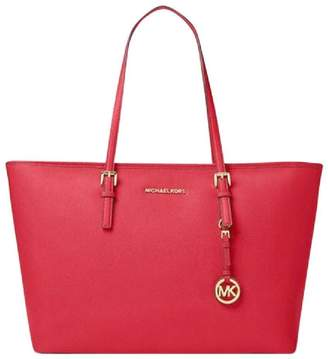 Michael Kors Jet Set Travel Medium Saffiano Tz Red Leather Tote