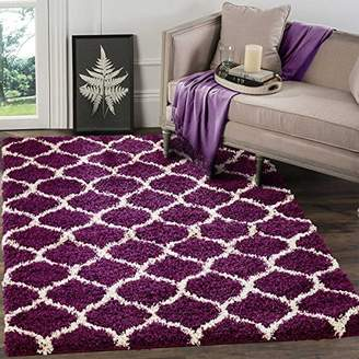 Camilla And Marc A2Z RUG Cozy Super Trellis Shaggy Rugs Snow White & Dark Grey 120x170 cm - 3'9''x5'5'' ft Contemporary Living Dinning Room & Bedroom Soft Area Rug