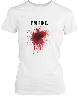 365 Printing I Am Fine Bloody Tee Funny Halloween T-Shirt Graphic Cotton Shirt