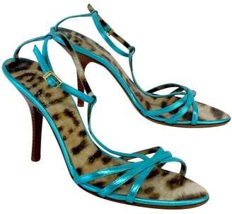 Roberto Cavalli Blue Metallic Strappy Sandal Heels Sz 8
