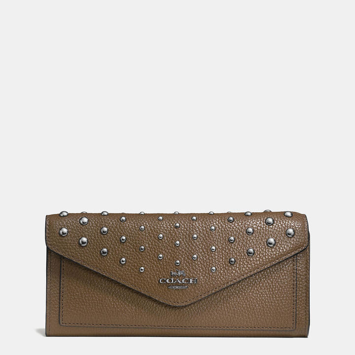 Coach   COACH Coach Soft Wallet In Polished Pebble Leather With Ombre Rivets