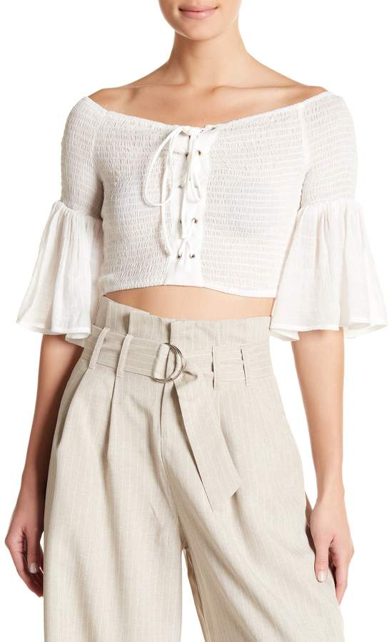 Off-the-Shoulder Smocked Lace-Up Crop Top