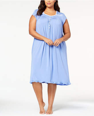 Eileen West Plus Size Waltz Lace-Trim Ruffle-Hem Knit Nightgown