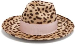 Federica Moretti - Leopard Print Rabbit Felt Hat - Womens - Leopard