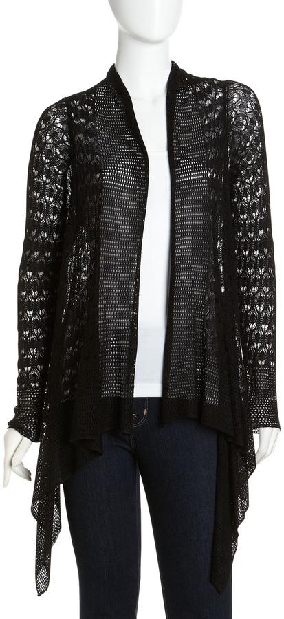 Neiman Marcus Open-Front Crochet Cardigan, Black