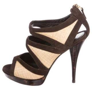Fendi Raffia Cage Sandals