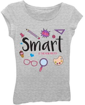 Freeze Girls' 'Smart Is the New Pretty' Short Puff Sleeve Graphic T-Shirt With Sugar Glitter