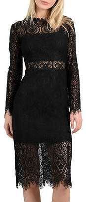 Molly Bracken Sheer Lace Cocktail Dress