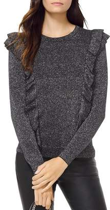 MICHAEL Michael Kors MICHAEL Metallic Knit Ruffled Sweater
