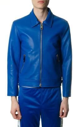 Misbhv Blue Leather Zipped Jacket