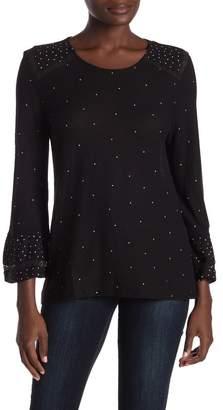 Lucky Brand Polkadot Lace Detailed 3/4 Sleeve Shirt