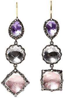 Sweet Pea Larkspur & Hawk Sadie Black Rhodium-Washed Three-Drop Earrings in Foil