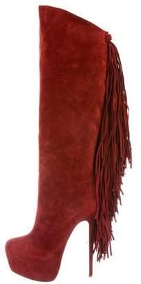 Christian Louboutin Interlopa Fringe-Trimmed Knee-High Boots