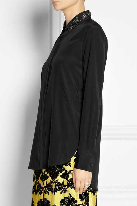 DKNY Embellished-collar silk-blend blouse