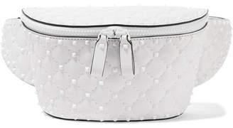 Rockstud Quilted Leather Belt Bag - White