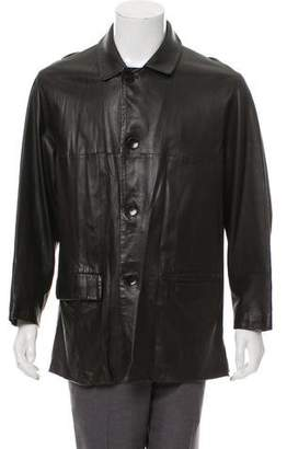 Canali Leather Car Coat
