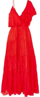 Johanna Ortiz Noche De Rosas Asymmetric Ruffled Silk Maxi Dress - Red