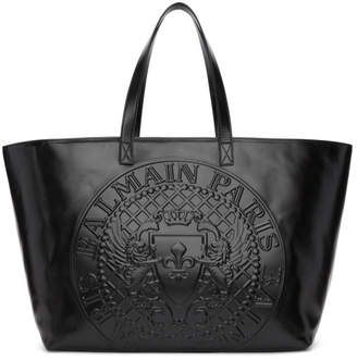 Balmain Black Logo Shopping Horizontal Tote