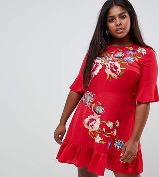 fa41c4bda7b01 Asos DESIGN Curve embroidered mini skater dress with pephem